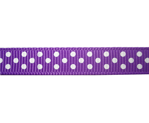"#DIY38-0330 - 12"" of 3/8"" Ribbon - Purple, White Dots"