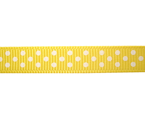 "#DIY38-0340 12"" of 3/8"" Ribbon Daffodil Yellow, White Dot"