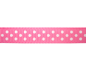 "#DIY38-0350 - 12"" of 3/8"" Ribbon - Pink, White Dots"