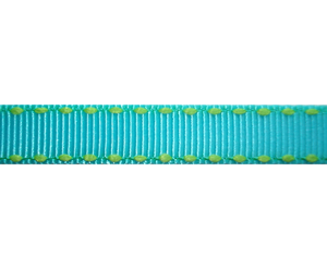 "#DIY38-0400- 12"" of 3/8"" Ribbon Electric Blue, Lime Stitch"