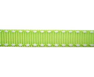 "#DIY38-0420- 12"" of 3/8"" Ribbon - Lime Green, White Stitch"