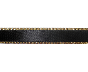 "#DIY38-0540- 12"" of 3/8"" Ribbon - Classic Black, Gold Edge"