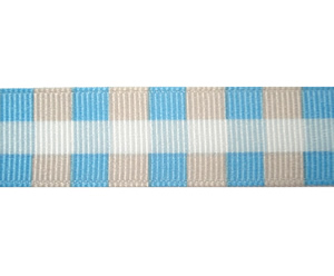 "#DIY58-0300 12"" of 5/8"" Ribbon Boy Plaid, Blue/Soft Brown"