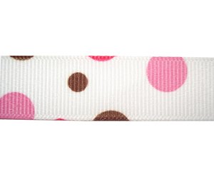 "#DIY58-0370 - 12"" of 5/8"" Ribbon - Pink & Brown Bubbles"