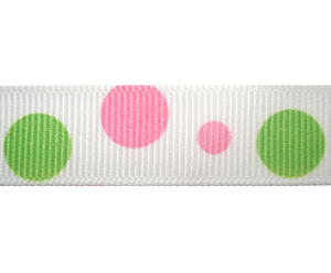 "#DIY58-0390 - 12"" of 5/8"" Ribbon - Pink & Green Bubbles"