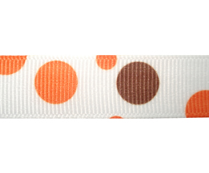 "#DIY58-0400 - 12"" of 5/8"" Ribbon - Orange & Brown Bubbles"