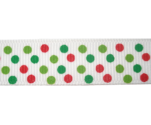 "#DIY58-0420 - 12"" of 5/8"" Ribbon - Ho-Ho-Holiday Dots"