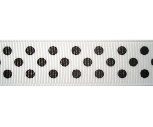 "#DIY58-0450 - 12"" of 5/8"" Ribbon - Chic White, Black Dots"