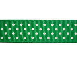 "#DIY58-0490- 12"" of 5/8"" Ribbon - Forest Green, White Dots"