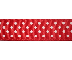 "#DIY58-0500 - 12"" of 5/8"" Ribbon - Classic Red, White Dots"