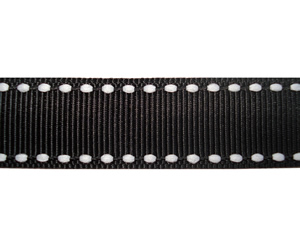 "#DIY58-0570 12"" of 5/8"" Ribbon Classic Black, White Stitch"