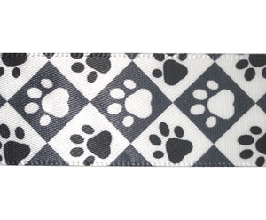 "#DIY78-0110 - 12"" of 7/8"" Ribbon - Black/White Paw Prints"