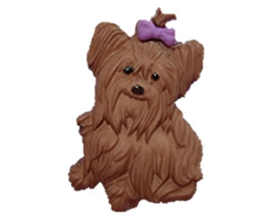 #DIYEM-4240 - Novelty Button Yorkie with Black Hair Bow