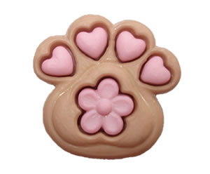 #DIYEM-4250 - Novelty Button Paw with Pink Hearts