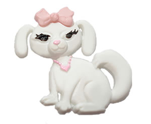 #DIYEM-4270 - Novelty Button Diva Pup; White