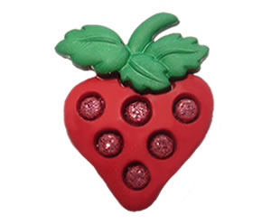#DIYEM-4400 - Novelty Button Strawberry with Bling; Red
