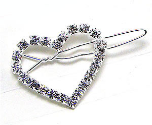 #RF050 - Dog Rhinestone Hair Barrette - Sparkly Rhinestone Heart