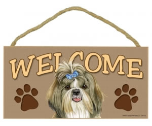 Wood Welcome Sign - Shih Tzu with Bow