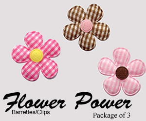 #FP003G - Flower Power Clips - 3 Pretty Ginghams, Pink/Chocolate