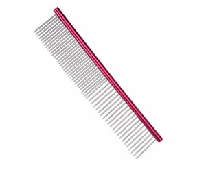 #G1973 - Durable, Stainless Steel Combination Comb, Red