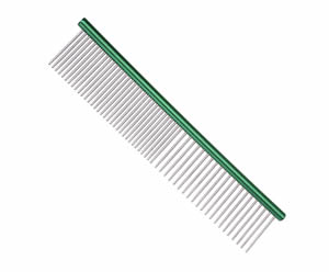 #G1974 - Durable, Stainless Steel Combination Comb, Green
