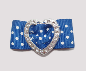 "#HRT0151 - 5/8"" Dog Barrette - Gem of My Heart, Blue Swiss Dots"