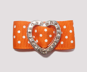 "#HRT0152 - 5/8"" Dog Barrette- Gem of My Heart, Orange Swiss Dots"