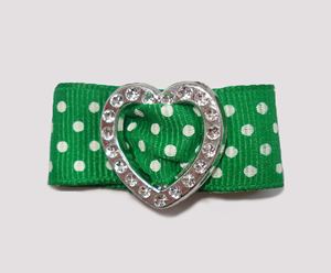 "#HRT0153 - 5/8"" Dog Barrette - Gem of My Heart, Green Swiss Dots"