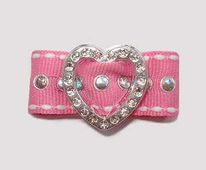 "#HRT0155 - 5/8"" Dog Barrette - Gem of My Heart, Pink Sequins"