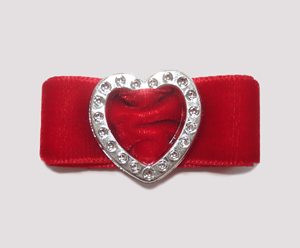 "#HRT0157 - 5/8"" Dog Barrette - Gem of My Heart, Rich Red Velvet"