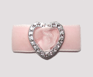 "#HRT0159- 5/8"" Dog Barrette- Gem of My Heart, Powder Pink Velvet"