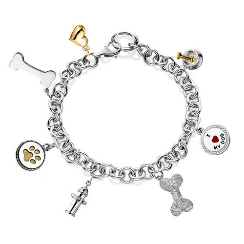 #J5000 - Rhodium Plated Bracelet with Austrian Crystal Dog Bone