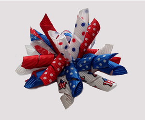 #KRK760 - Korker Dog Bow - Patriotic Red, White & Blue, Stars
