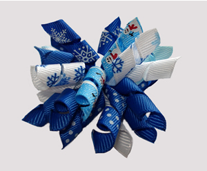 #KRK780 - Korker Dog Bow - Winter Blues, Snowmen/Snowflakes