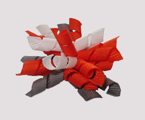 #KRKM280 - Mini Korker Dog Bow - Orange/White/Silver Grey