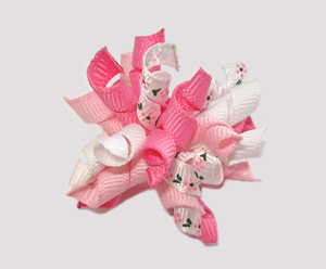 #KRKM440 - Mini Korker Dog Bow - Pretty Pink Petals