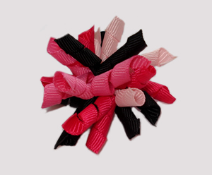 #KRKM540 - Mini Korker Dog Bow- Shocking/Hot Pink & Black