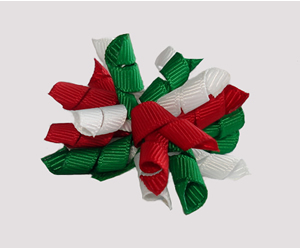 #KRKM550 - Mini Korker Dog Bow- Festive Red/White/Green