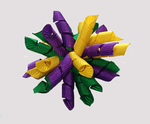 #KRKM560 - Mini Korker Dog Bow- Mardi Gras Fun
