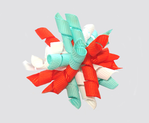 #KRKM610 - Mini Korker Dog Bow- Orange/White/Aqua