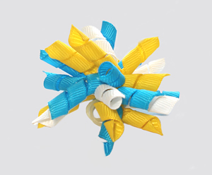 #KRKM630- Mini Korker Dog Bow- Turquoise Blue/White/Yellow
