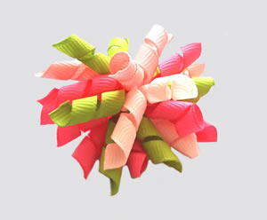 #KRKM670- Mini Korker Dog Bow- Burst of Spring Green/Pinks