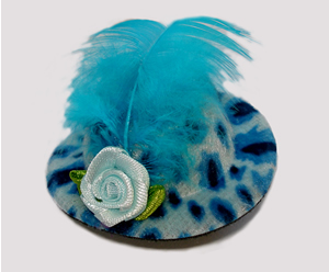 #LTT02 - Tiny Topper Dog Hat, Leopard Print - Beautiful Blue