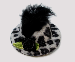 #LTT03 - Tiny Topper Dog Hat, Leopard Print - Black