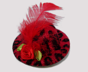 #LTT04 - Tiny Topper Dog Hat, Leopard Print - Ravishing Red
