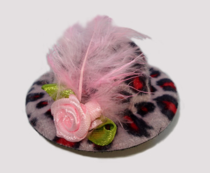 #LTT06 - Tiny Topper Dog Hat, Leopard Print - Heavenly Pink