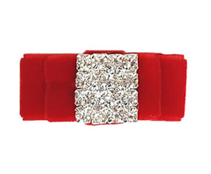 #LV020 - Elegant, Luxury Velvet Dog Bow w/Bling - Classic Red