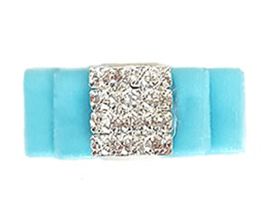 #LV030 - Elegant, Luxury Velvet Dog Bow w/Bling - Powder Blue