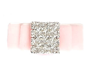 #LV040 - Elegant, Luxury Velvet Dog Bow w/Bling - Powder Pink