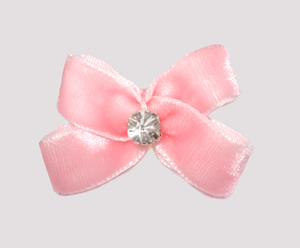 #PBTQ285 - Petite Boutique Dog Bow - Powder Pink Velvet